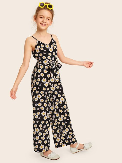 Girls Daisy Print Self Belted Wide Leg Cami Jumpsuit – Kidenhouse
