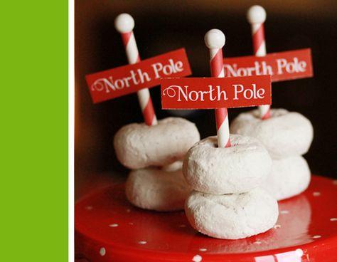 North Pole doughnuts on a plate. Cute & easy christmas party treat! Holly Jolly Party via www.karaspartyideas.com