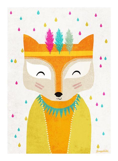 """Digitaldruck - Print """"Fuchs(Regenmacher 2)"""" DIN A 4 - ein Designerstück von TreeChild bei DaWanda"""