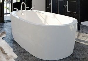 Freestanding Air Or Soaking Tub Modern Flat Skirt End Drain