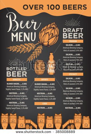 Beer restaurant brochure vector, alcohol menu design Vector bar - beer menu