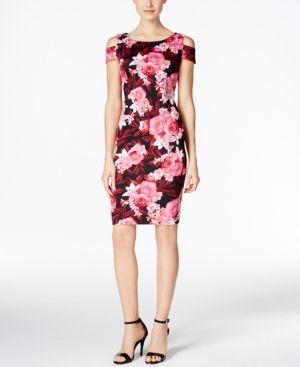 2b2b355fe62 Connected Floral-Print Cold-Shoulder Sheath Dress - Purple 14 ...