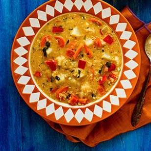 Our love affair with quinoa continues in this Peanut Soup (Sopa de Mani) from Eating Well.