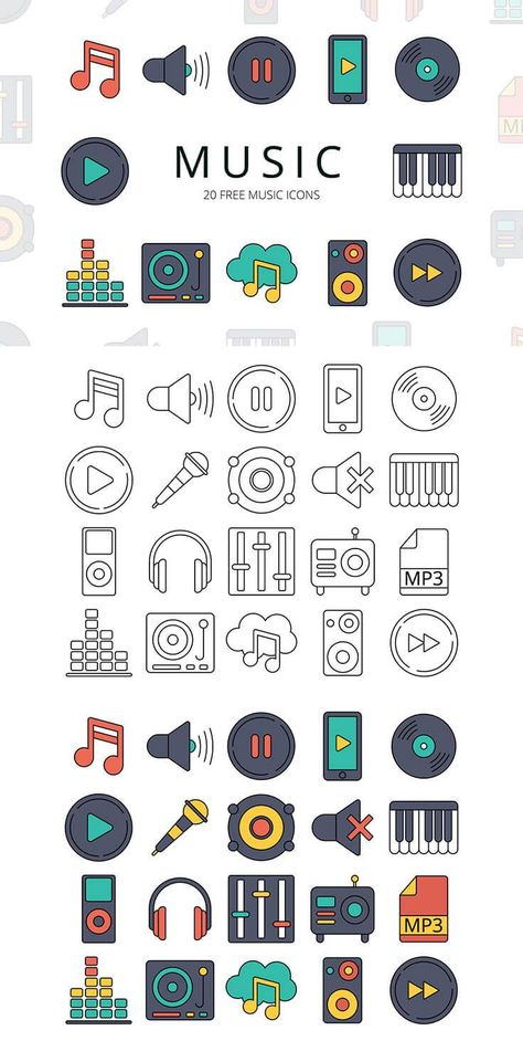 Free Music Vector Icon Set
