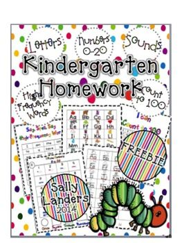 FREEBIE! Kindergarten Homework Packet Letters, High-Frequency Words Numbers & Counting!  Also includes links to make your own Listening Centers