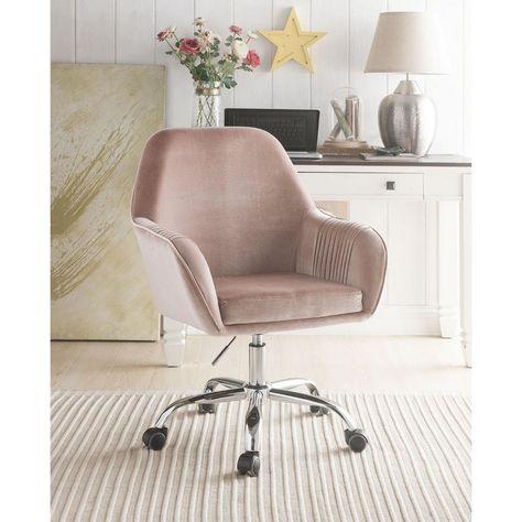 HomeRoots Amelia Dusky Rose Velvet Office Chair 319075 - The Home Depot