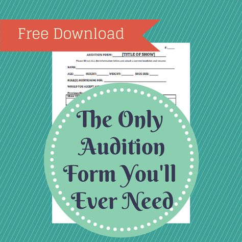 Free audition form template Yay Theatre Pinterest Drama - audition form