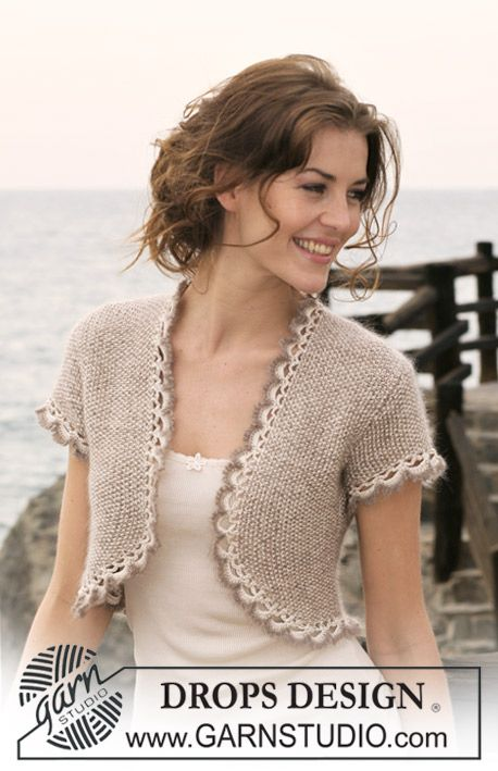 """DROPS bolero in moss st in """"Cotton Viscose"""" and """"Kid-Silk"""" with short sleeves and crochet borders.  Size: S to XXXL"""