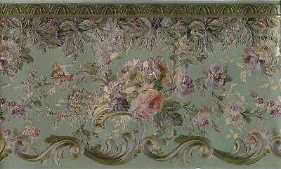 Flower Rose Scroll Silk Antique Gold On Green Wallpaper Border Onb87960 Floral Wallpaper Border Green Wallpaper Wallpaper
