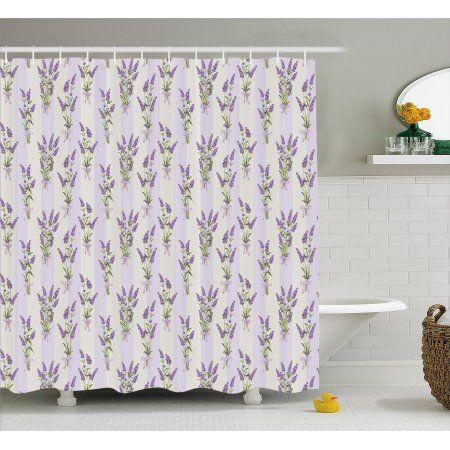Lavender Shower Curtain Stripes And Flowers With Ribbons Romantic