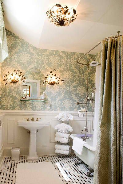 i wonder if darrick would be okay with this pattern in the small bathroom vintage bathroom greeson and fast interior design wallpaper pinterest