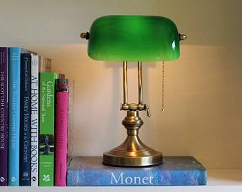 Banker Lampe Etsy De In 2020 Bankers Lamp Lamp Green Glass