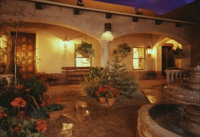 beautiful outdoor space with courtyard and fountain