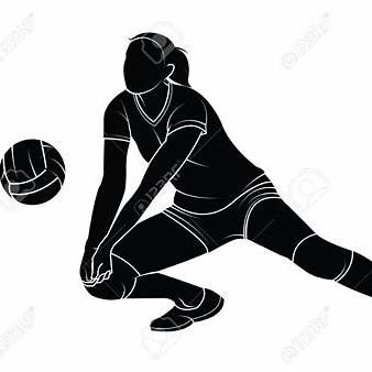 Volleyball passing. Silhouette of a girl