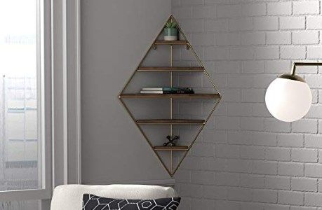 Rivet Modern Corner Floating Triangle 5 Shelf Wall Unit Deco Wall Unit Decor Wall Shelves Wall Unit