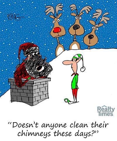 Maintain Your Chimney And Fireplace For Santa Claus Daily Cartoon Cartoon Jokes Christmas Cartoons