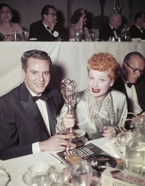 Here, Lucille and Desi sit at the 1953 Emmy Awards. Between herself and I Love Lucy, Ball was up for 13 nominations over the years, on top of her four wins: Best Comedienne in 1953, Best Actress (continuing performance) in 1956 and Outstanding Continued Performance by an Actress in a Leading Roll in a Comedy Series in 1967 and 1968.   - CountryLiving.com