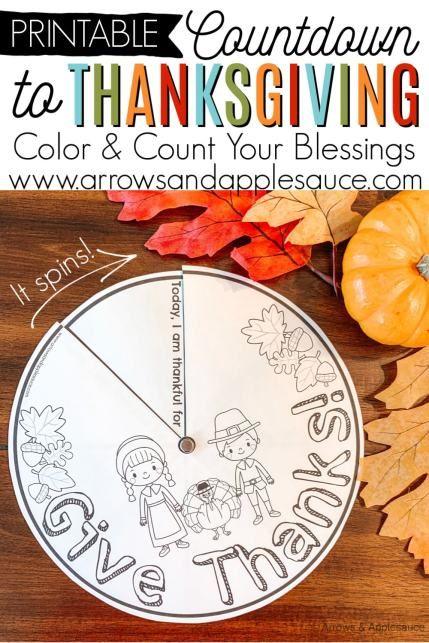 Raising Thankful Kids Printable Thanksgiving Wheel Arrows Applesauce Thanksgiving Crafts For Kids Printables Kids Autumn Activities For Kids