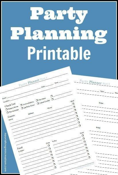 Free Party Planning Worksheet Free Party Planning