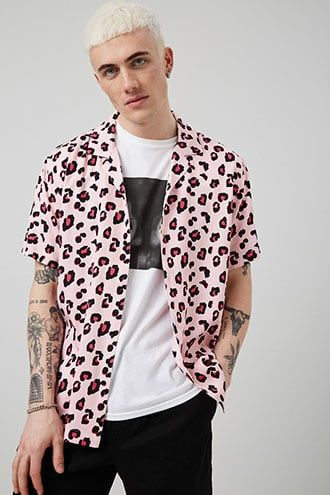 Classic Fit Leopard Print Shirt Leopard Print Shirt Printed