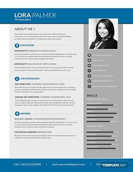 Simple Photographer Resume Cv Template Word Psd Apple Pages Publisher Free Resume Template Word Photographer Resume Resume Template Word