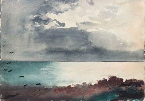 Winslow Homer (1836-1910) Breaking Storm, Coast of Maine (1894) watercolor