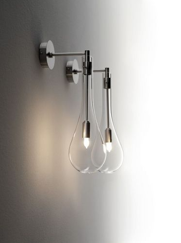 bedside contemporary wall light LAMPADE Arlex Italia. Simple tear drop style lamps. Simple yet elegant with the silver details