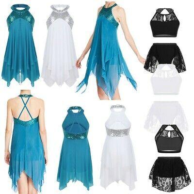 Girls Halter Lyrical Ballet Dress Kids Sequins Ballroom Dance Leotard Costumes