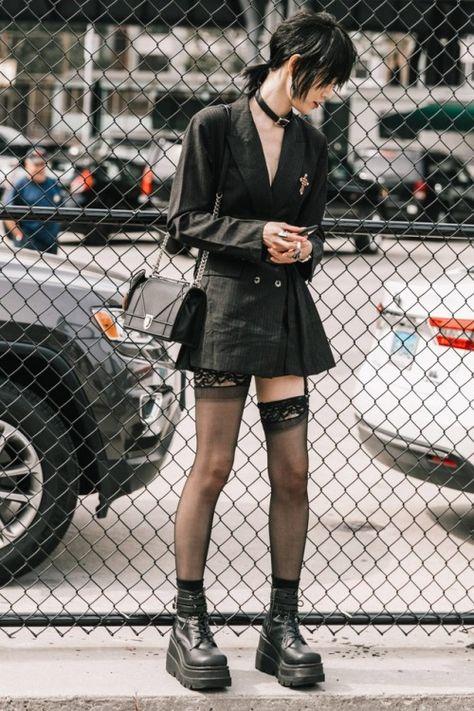 Goth Style 597852919262549319 - slickcrust: Sora Choi NYFW SS 2018 Street Style Goth Fashion… Source by mariannemoriceau Japon Street Fashion, Japanese Street Fashion, Tokyo Fashion, Fashion Mode, Harajuku Fashion, Punk Fashion, Gothic Fashion, Asian Fashion, Fashion Looks