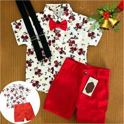 My First Christmas Clothes Toddler Baby Boy Santa Print Short Sleeve T-Shirt Red Shorts Gentleman Suit Xmas 2pcs Outfits Set
