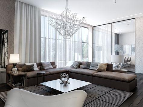 Modernes Wohnzimmer Braunes Sofa Schiebetür Essbereich | Haus
