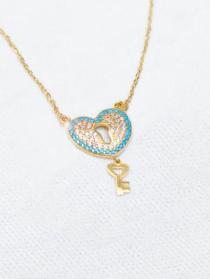 سلسله ذهب عيار 18 سلسلة قلب بالمفتاح خصم 10 على المصنعية Necklace Pendant Jewelry