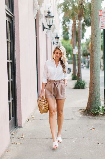 High Waisted Utility Shorts Casual Outfits White High Waisted Shorts Casual Summer Outfits