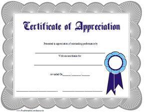Certificate Of Appreciation Template Certificate Of Appreciation