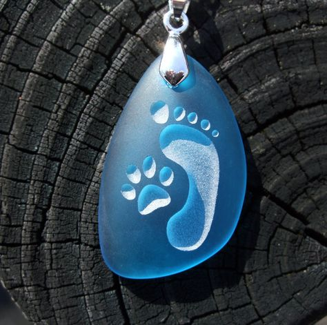 Footprint and Cat Paw Forever Friends - engraved Ocean beach Sea Glass pendant