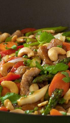 Pork Tenderloin & Cashew Stir Fry