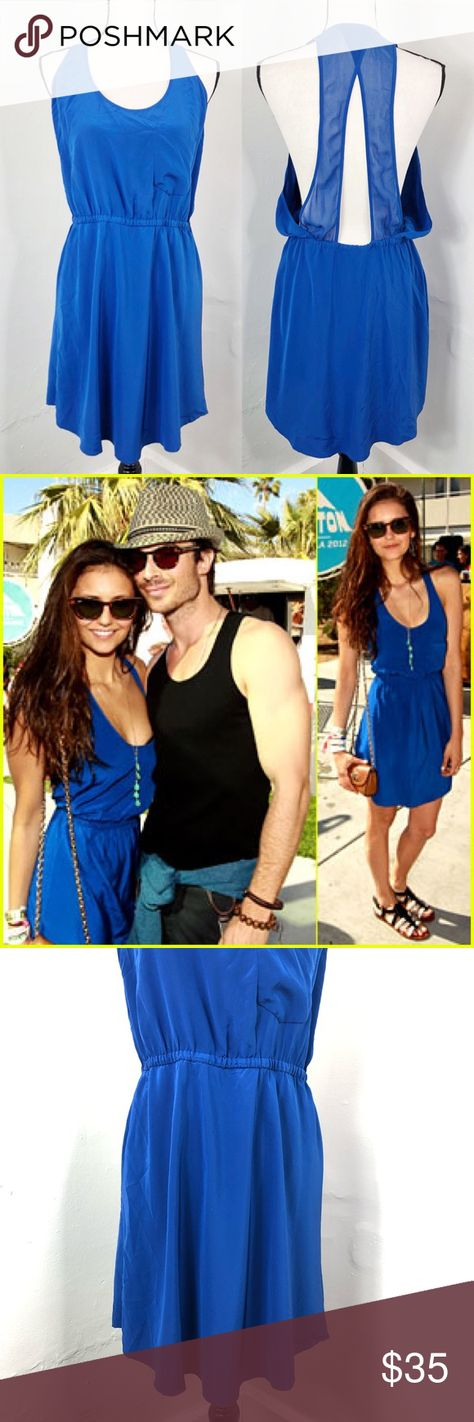 05b0e6b9581 Wilfred Aritzia Blue Silk Open Back Mini Dress L    As seen on Nina Dobrev