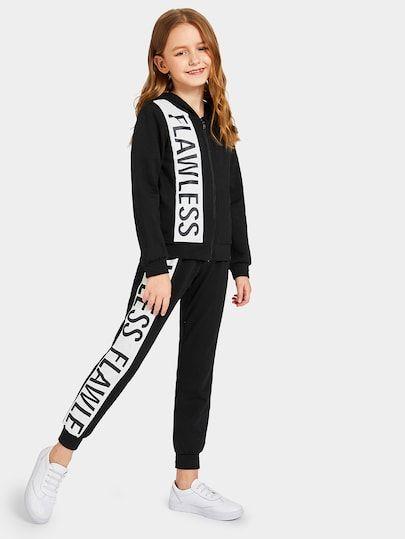 Shop Girls Letter Print Zip Up Hoodie & Sweatpants Set online. SheIn offers Girls Letter Print Zip Up Hoodie & Sweatpants Set & more to fit your fashionable needs.