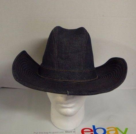 Vintage Denim Blue Jean Western West Cowboy Hat Cap Made in USA  Cowboy dd4e64a5fc8
