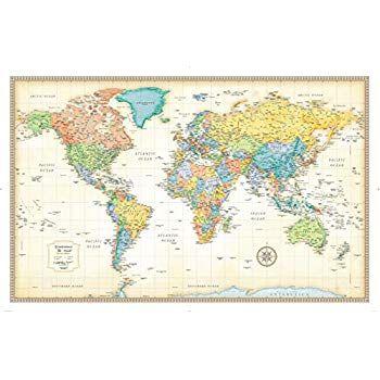 Maps International Giant World Map Antique World Map Poster Laminated –