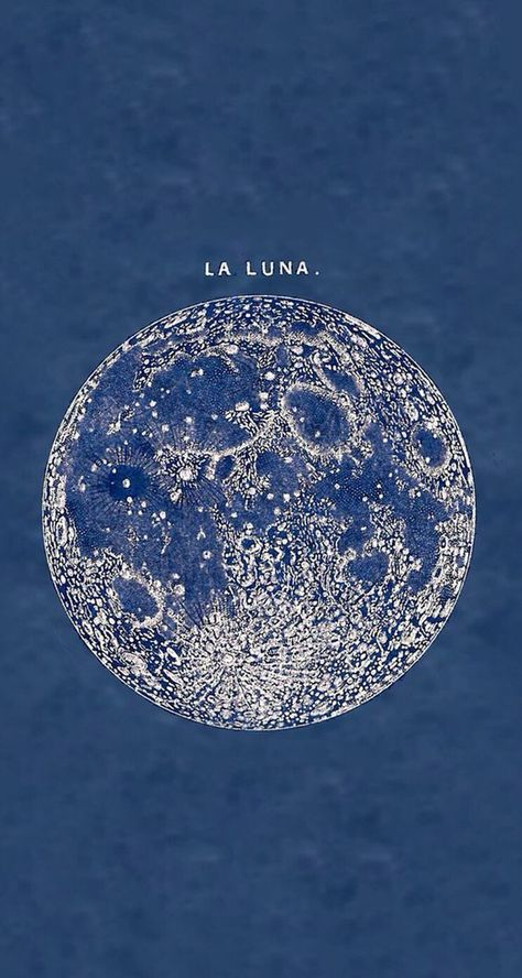 'La Luna' full moon print from an 1878 vintage print Witchy Wallpaper, Retro Wallpaper, Spiritual Wallpaper, Hippie Wallpaper, Vintage Frames, Vintage Prints, Blue Backgrounds, Wallpaper Backgrounds, Backgrounds For Computer