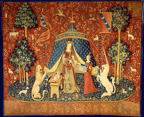The Lady and the Unicorn (La Dame à la licorne) is the title of six medieval tapestries which can be found in the Musée du Moyen-Âge in Paris. Drawn in Paris and woven in Flanders.