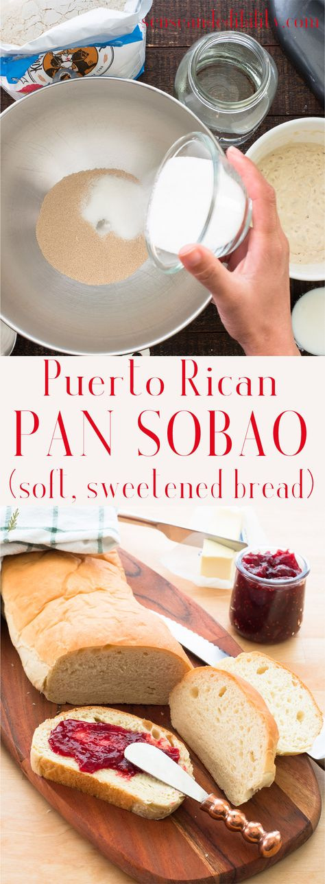 A soft, sweet bread, Pan Sobao is one of Puerto Rico's prized baked goods. It won't last long once you sniff that mouth-watering aroma, so this recipe makes two loaves! #pansobao #PuertoRicanbread #bread #baking #breadmaking #sandwichbread #senseandedibility