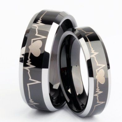 Black Heart Matching Tungsten Wedding Bands Engraved promise rings