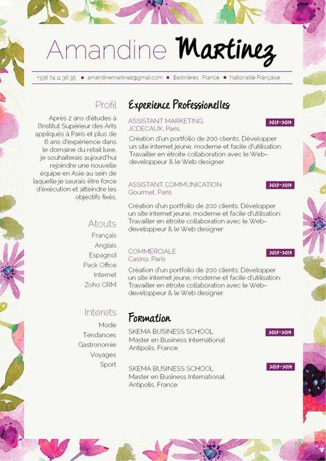 Cv Printanier Pour Un Cv Original Et Rebooster Vos Creative Cv Resume Examples Creative Cvs