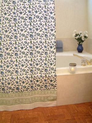 Moonlit Taj Floral Turquoise India Inspired Shower Curtain