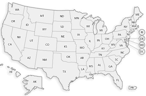 AL-2, AZ-8, AR-6, CA-45, CO-5, FL-20, GA-9, HI, ID-6, IL-11, IN-14, IA-2, KS-4, KY-5, LA-3, ME-3, MD-9, MA-3, MI-10, MN-3, MS-5, MO-5, MT-2, NJ-9, NM, NY-17, NC-13, ND, OH-12, OK-6, OR-5, PA-8, RI-2, SC-5, TN-2, TX-24, VA-12, WA-7, WI-3, WY.   Japan, Micronesia, Philippines, Puerto Rico-2, .