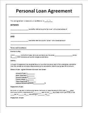 Personal Loan Agreement Template And Sample Personal Loans Loan Application Contract Template