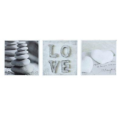 Set De 3 Box Art 20x20 Romantic Love Gris Cadre Photo Pele Mele Decoration Murale