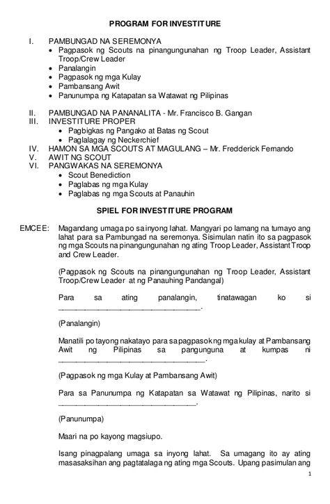 1 PROGRAM FOR INVESTITURE I PAMBUNGAD NA SEREMONYA  Pagpasok ng - informatica administrator sample resume
